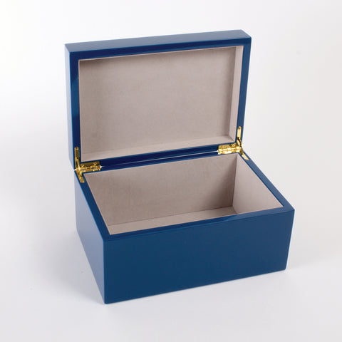 Blue Greek Key Lacquered Jewelry Box