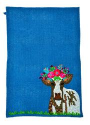 Cow with Flower Crown Tea Towel