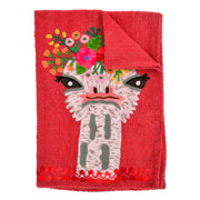 Ostrich with Flower Crown Tea Towel