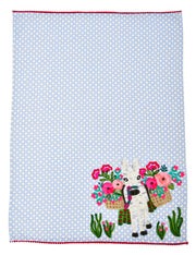 Donkey with Florals Tea Towel