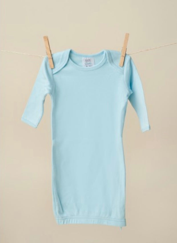 Long Sleeve Baby Gown - Blue