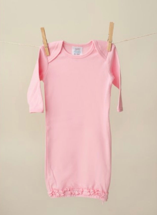 Long Sleeve Baby Gown - Pink