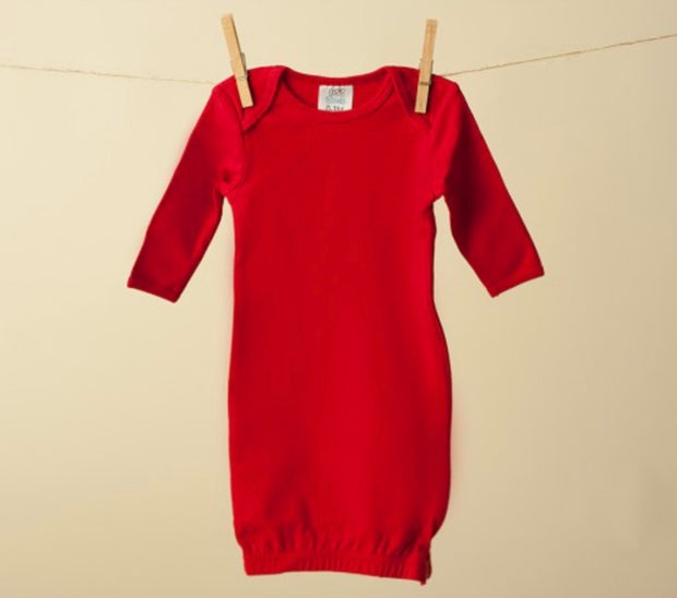 Long Sleeve Baby Gown - Red