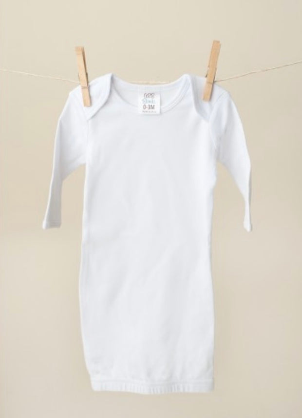 Long Sleeve Baby Gown - White