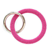 Seed Bead Key Ring - Hot Pink
