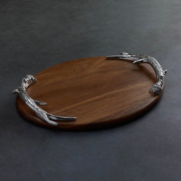 Beatriz Ball Wood Western Antler Oval Large Cutting Board
