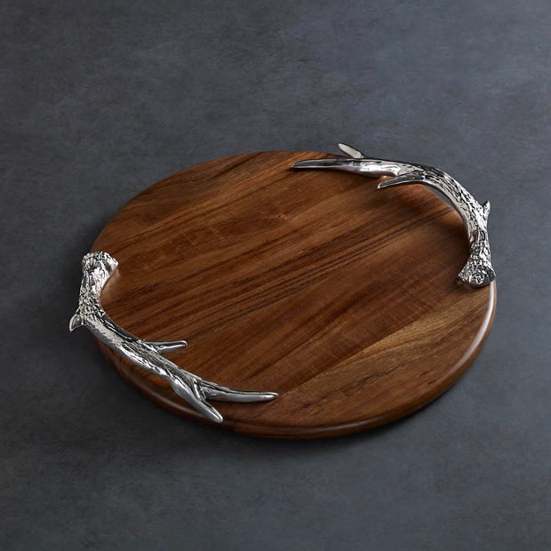 Beatriz Ball Wood Western Antler Round Large Cutting Board
