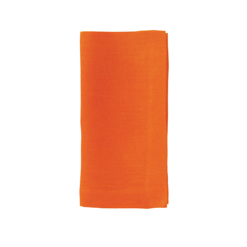 Riviera Stonewashed Cotton Dinner Napkins - Tangerine