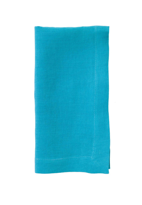 Riviera Stonewashed Cotton Dinner Napkins - Turquoise