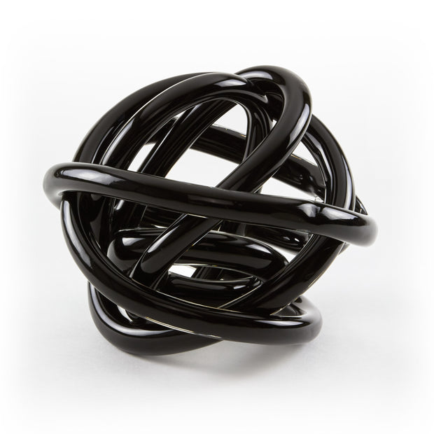 Hand Blown Glass Knot - Black
