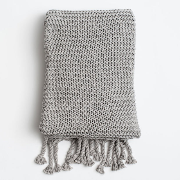 Organic Cotton Comfy Knit Throw - Gray