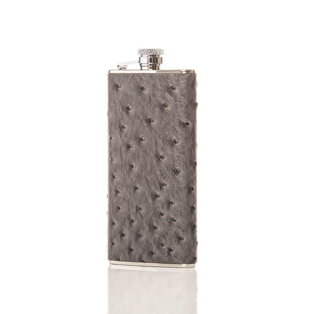 Canteen Boot Shaped Flask - Grey Ostrich