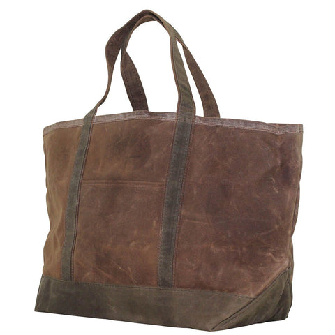 Waxed Canvas Large Boat Tote - Khaki with Olive Trim