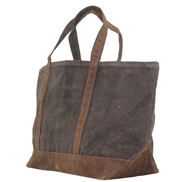 Waxed Canvas Large Boat Tote - Olive with Khaki Trim