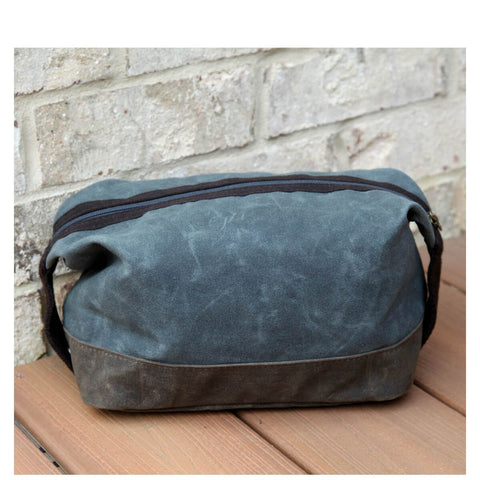 Waxed Top Zip Dopp Kit - Slate