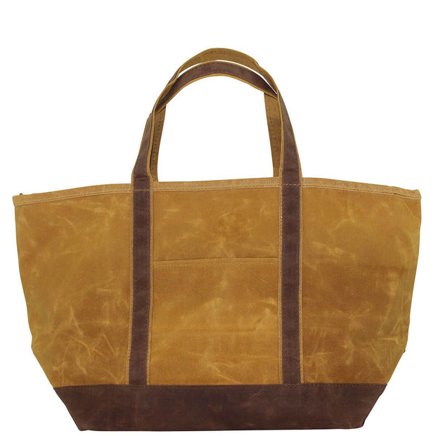 Waxed Canvas Large Boat Tote - Yellow with Khaki Trim