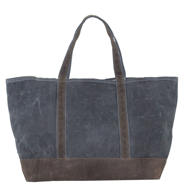 Waxed Canvas Large Boat Tote - Slate with Olive Trim