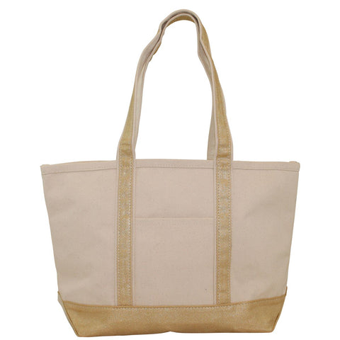Medium Boat Tote - Metallics Natural & Gold