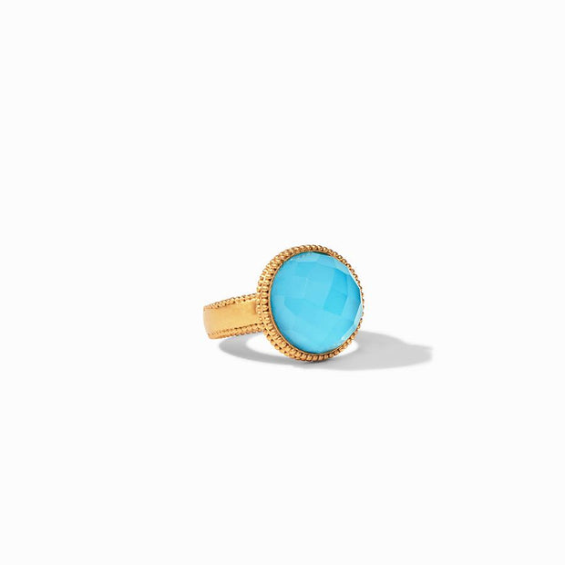 Julie Vos Fleur-de-Lis Ring - Iridescent Pacific Blue, 7