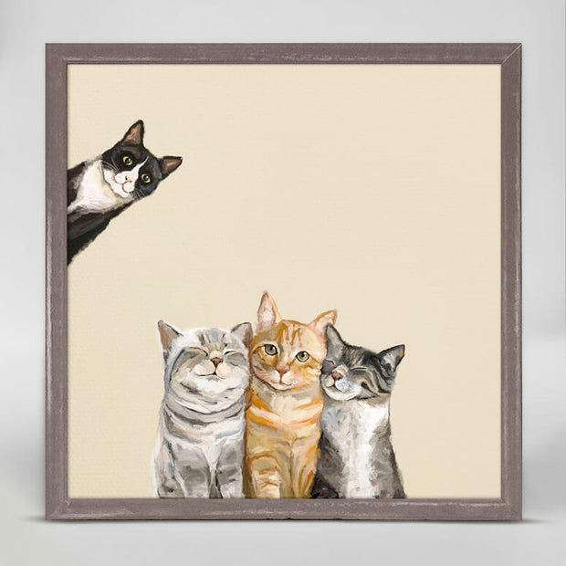 Feline Friends - Three Cats Plus One Mini Framed Canvas 6x6