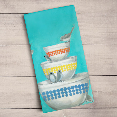 Birds On A Stack Of Bowls Tea Towel