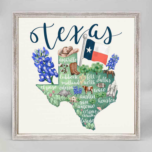 Texas Map Mini Framed Canvas 6x6