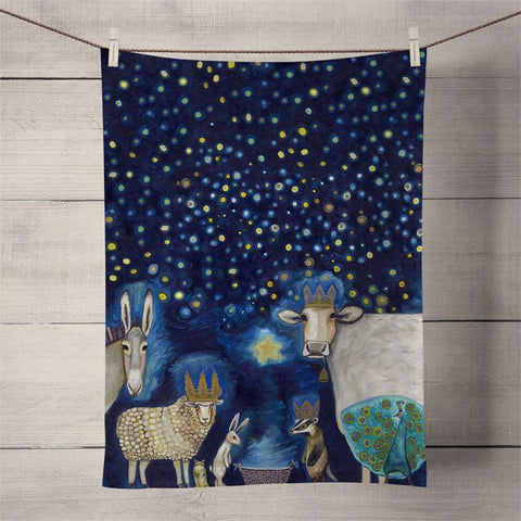 Animal Nativity Tea Towel
