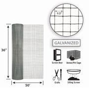 Garden Zone Silver Steel Hardware Cloth 19 Ga. - 36 in W x 50 ft L