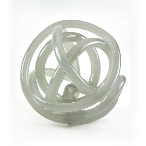 Hand Blown Glass Knot - Gray
