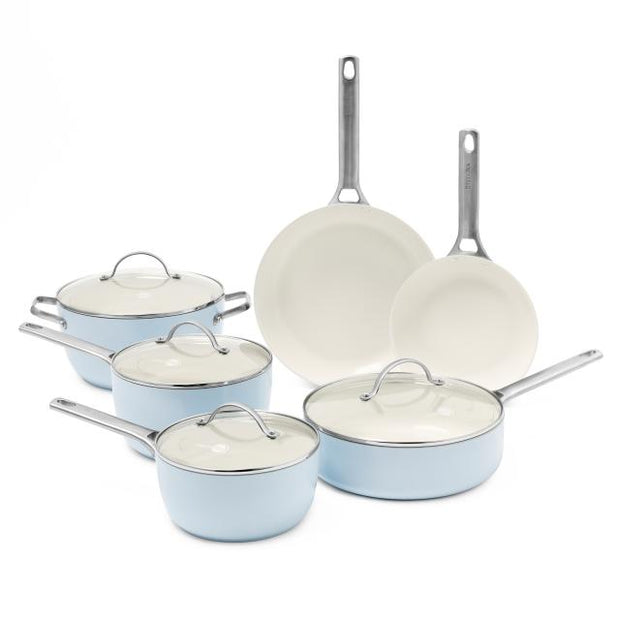 Greenpan Padova Ceramic Non-Stick 10-Piece Cookware Set - Light Blue
