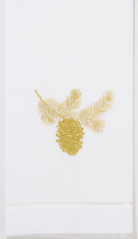 Embroidered Hand Towel - Gold Pinecone