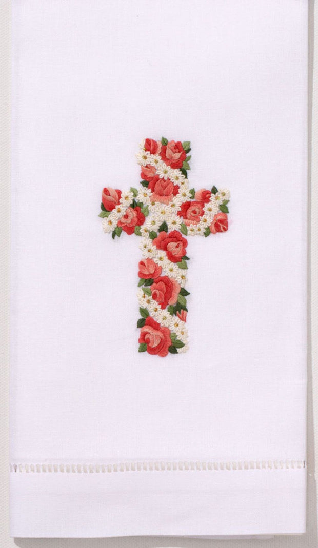 Embroidered Hand Towel - Rose and Daisy Cross