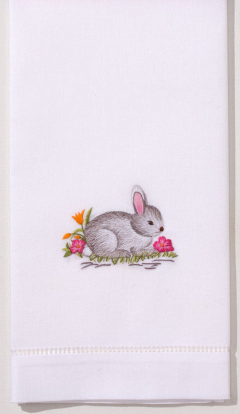 Embroidered Hand Towel - Gray Bunny