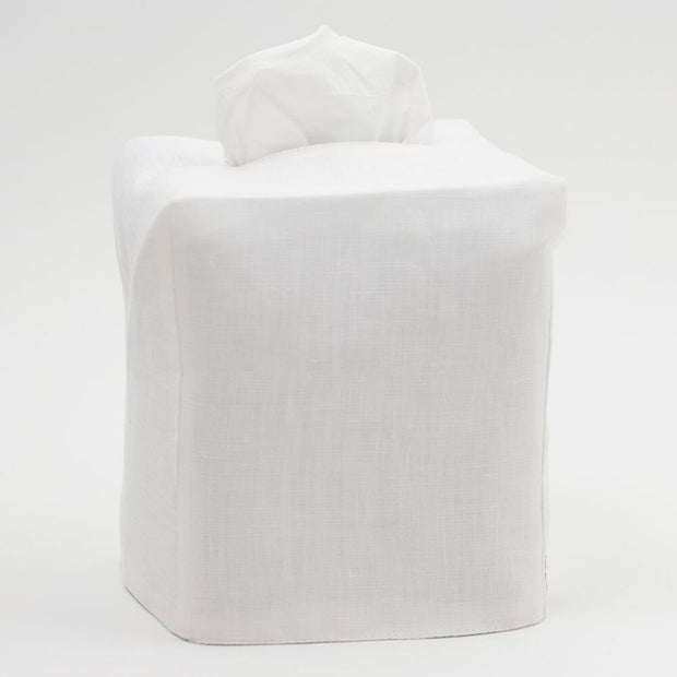 Italian Linen Heirloom Tissue Box Cover - Ivory