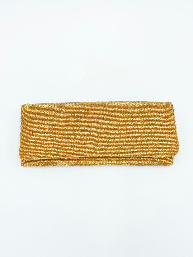Fold Over Beaded Clutch- Gold