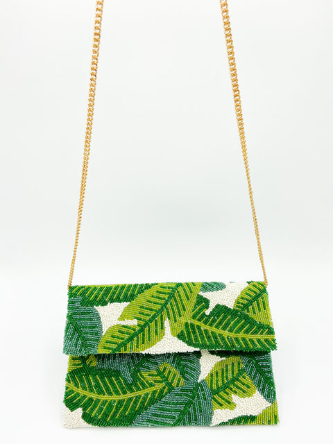 Beaded Large Crossbody Clutch- Green Palms