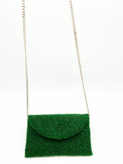 Beaded Small Crossbody Clutch- Emerald