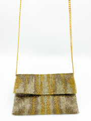 Beaded Large Crossbody Clutch- Gold+Silver