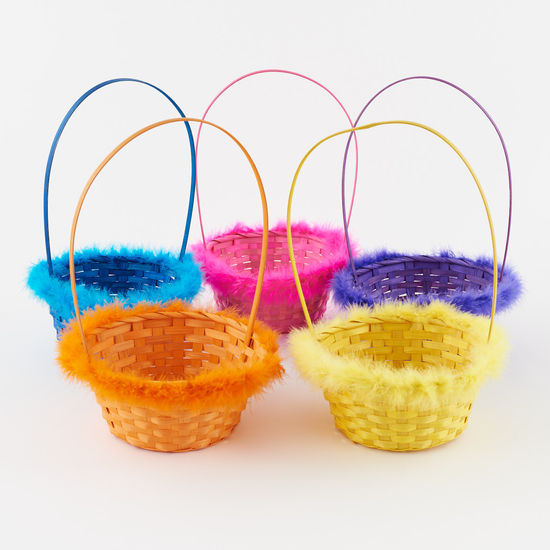 Bamboo Basket with Marabou - Assorted