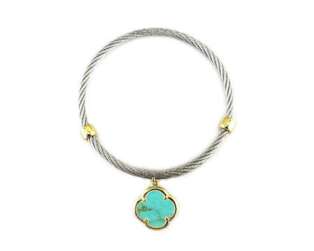 Cable Bracelet with Turquoise Clover Dangle