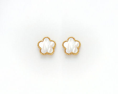Gold Pearl Flower Earrings
