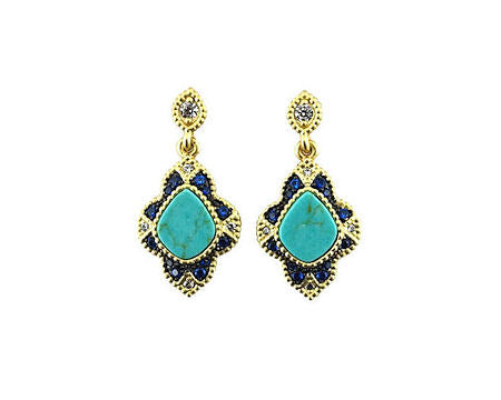 Brushed Gold Earrings with Sapphire and Turquoise