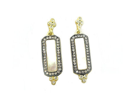 Gold Mother Of Pearl Rectangular Earrings