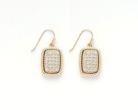 Gold Cable Pave Rectangle Earrings