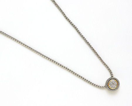 Round Pendant Cable Necklace with Pave