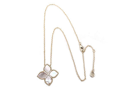 Gold Cable, Mother of Pearl Flower, Necklace, 16 in x 2in with Cubic Zirconia