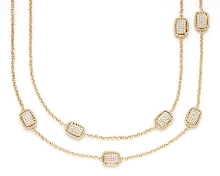 Gold Cable Pave Rectangle 36in Necklace