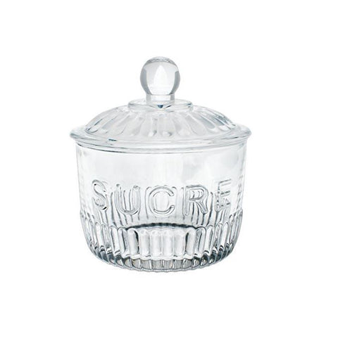 Glass Sucre Lidded Sugar Jar
