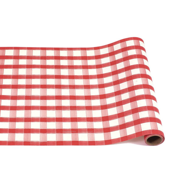 Hester & Cook Red Painted Check Table Runner 20in w x 25ft l