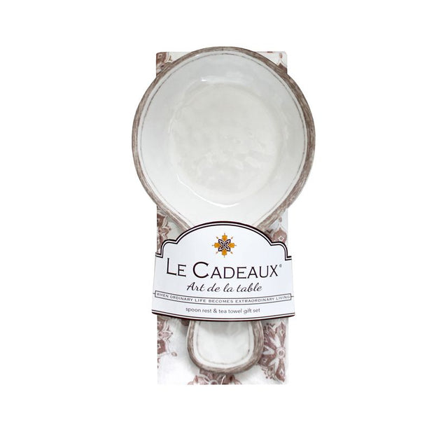 Le Cadeaux Spoon Rest with Cotton Towel - Rustica White